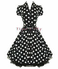 HEARTS & ROSES H&R 50's TEA BIG POLKA DOT Rockabilly DRESS BLACK