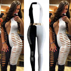 Sexy Club Wear Catsuit Hole Jumpsuit Bandage Bodycon Dress Black & White 4136