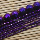 "Hematite Gemstone Faceted Round Ball Beads 16"" Metallic Color 2 3 4 6 8 10mm"
