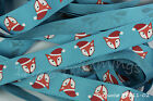 Reel Chic Ribbon Christmas Santa Fox on Turquoise Grosgrain19mm Wide RC11-02
