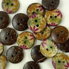 20/100pcs Flower Coconut Brown Round Buttons 15MM Craft/kids Sewing Scrapbook-B