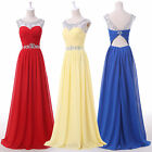FREE SHIP~ Beaded Chiffon long evening gowns Bridesmaids Party Wedding Dresses