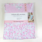 NEW Miss Elaine Pink Floral Short Sleeve Short Night Gown S M L XL