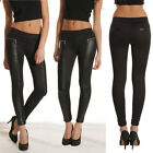 NEW Womens Full Ankle Length Splicing Wetlook Ladies Shiny Pants Tights Leggings