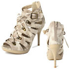 MOGAN SHOES Gladiator DENIM Lace Up PUMP Strappy Platform Ankle Boot Sandal NEW