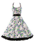 HOT Women Cotton Rockabilly Dress Pin Up Vintage 50s Prom Swing Cocktail Dresses