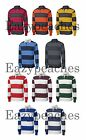PEACHES PICK NEW Men's STRIPE Long Sleeve RUGBY POLO SPORT SHIRTS S-XL 2XL 3X 4X