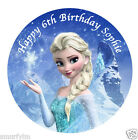 "DISNEY FROZEN ELSA BIRTHDAY CAKE EDIBLE TOPPER DECORATION ICING SUGAR 7.5"" img6a"