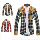 Fashion New Men Boys Vintage Plaid Long Sleeve Splicing Patch Shirts Cotton Tops