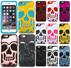 For Apple iPhone 6 6S Plus SKULL Hard Hybrid Dual Layer Rubb