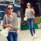 Sexy Ladies Womens 3/4 Sleeve Casual Leopard Print Chiffon Shirt Tops Blouse HOT