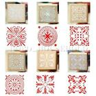 Vintage Flower Lace Square Wooden Rubber Stamp Seal Scrapbook DIY Paper Craft