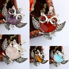 Gemstone Owl Alloy Wired Healing Chakra Cut Crystal Pendant Beads For Necklace