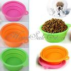 Pet Dog Cat Portable Silicone Collapsible Feeding Water Feeder Travel Bowl Dish