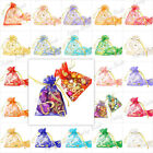 20/40/60/100 Rectangle Gift Bags Wedding Jewelry Pouch Organza Flower Love Heart