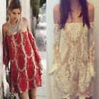 Fashion Women Sexy Off Shoulder Embroidery Long Sleeve Cocktail Club Mini Dress