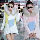 Hot Contrast Color Womens Fur Collar Thicken Warm Down Coat Outwear Jacket Parka