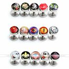 2x Stainless Steel Fake Plugs Illusion Rock Skull Ear Studs Earrings Stretchers