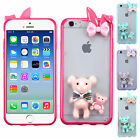 For Apple iPhone 6 4.7 RABBIT BOW TPU Gel GUMMY Hard BEAR Skin Case Phone Cover