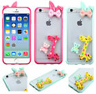 Apple iPhone 6 4.7 RABBIT BOW TPU Gel GUMMY Hard GIRAFFE Skin Case +Screen Guard