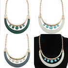 Crescent Double-deck Statement Bib Necklace Chunky Collar Choker Womens Jewelry