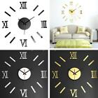 Modern DIY Interior Roman Wall Clock Wall Clock 3D Sticker Home Mirror Effect