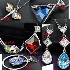 crystals Lady Pendant chain necklace 18k white gold plated OS49-OS550