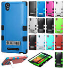 For T-Mobile ZTE ZMAX Z970 Rubber IMPACT TUFF Hybrid KICKSTAND Phone Case Cover