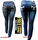 DARK BLUE HIGH WAIST WOMEN'S PLUS SIZE denim jeans SKINNY LEG BE-8B003MS 14-24