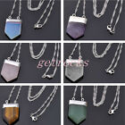 Vintage Square Sword Head Gemstone Healing Point Chakra Pendant Chain Necklace