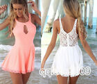 Ladies Sexy Celeb Party chiffon Lace Playsuit Club Evening Dress Jumpsuit Shorts