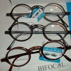 3 Lennon look Round BIFOCAL CLEAR READING GLASSES Brown or Black select power