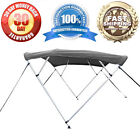 """4 Bow Bimini Boat Cover 8' Ft Top w/ Boot Gray Covers Includes Hardware 1"""" Tubes"""