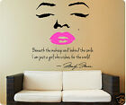 Marilyn Monroe Wall Decal Decor Quote Face Pink Lips Makeup Sticker CHOOSE SIZE