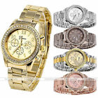 Bling Crystal Rhinestone Women Stylish Geneva Stainless Steel Quartz Wrist Watch