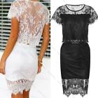 2 Piece Set Sexy Lace Crochet Crop Tops&Skirt Fashion Party Cocktail Dress Suit