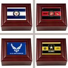 Choose Your US Military Branch Mahogany Wood Keepsake Jewelry Box w/ Color Logo