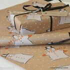 Christmas *Novelty Snowman* Patterned Kraft Brown Wrapping Paper 5 or 10 metres