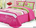 Cotton Floral Quilted Bedspreads Set Size Bed Linen Patchwork Coverlet Queen New