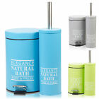 Stainless Steel Bathroom Pedal Bin & Toilet Brush Colour Match Accessory Set