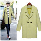 Womens Noble Double Breasted Thick Jacket Trench Coat Lamb Wool Blend Outwear