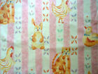Children Print fabric Vintage styles cream pink stripes bunnies Baby Nursery cat