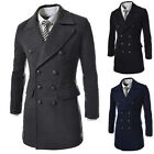 2015 Men's Wool Coats Double Breasted Peacoat Long Trench Greatcoat Windbreaker
