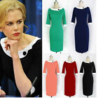 Women Vintage Square Neck Tunic Wear to Work Party Sheath Shift Pencil Dress