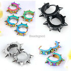 2x Men Women Stainless Steel Spike Rivets Hoop Huggie Ear Stud Earrings Piercing