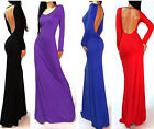 Women's Sexy Backless Long Sleeve Solid Long Dress Evening Ball Gowns elegant