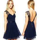 CHEAP Women Sexy Deep V-Back Cocktail Lace Evening Prom Formal Short PARTY Dress