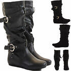 WOMENS LADIES FLAT HEEL OVER THE CALF HIGH KNEE BLACK BOOTS LEATHER LOOK SIZE