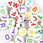 500/2500pcs 112595 Colors Letters Printed Oblate Charms Acrylic Spacer Beads 7mm