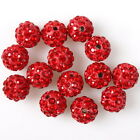 25/125pcs 112461 Red Rhinstones FIMO Polymer Clay Ball Charms Spacer Beads 9mm